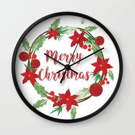 Lovely Merry Christmas Wreath Wall Clock