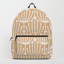 Retro Art, Floral Prints, Peach and White Backpack