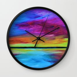 Rainbow Sunset Wall Clock