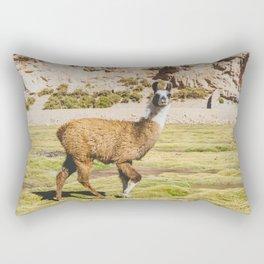 Curious llama in Bolivia Rectangular Pillow