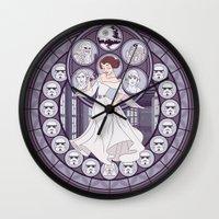 leia Wall Clocks featuring Leia by NicoleGrahamART