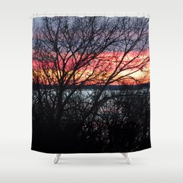 Blazing Lake Sunset Shower Curtain