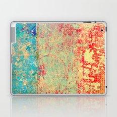Brilliant Encounter, Abstract Art Turquoise Red Laptop & iPad Skin