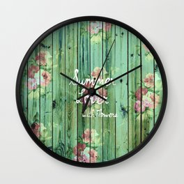 Summer Lover With Flowers | Vintage Floral pattern Teal Striped Wood Wall Clock