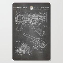 Ak-47 Rifle Patent - Ak-47 Firing Mechanism Art - Black Chalkboard Cutting Board