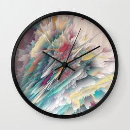 Rainbow Shards - Abstract Art by Fluid Nature Wall Clock