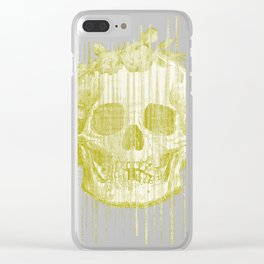 Floral skull glitch yellow Clear iPhone Case