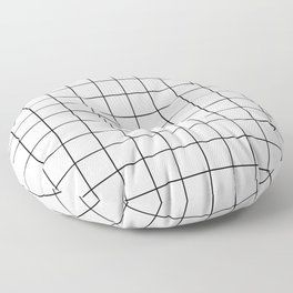 Grid Simple Line White Minimalistic Floor Pillow