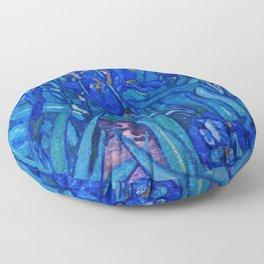 Van Gogh Irises in Indigo Floor Pillow
