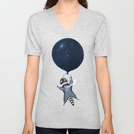Raccoon Balloon Unisex V-Neck