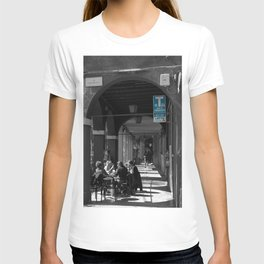 Bologna Tabacchi Blue Street Photography Black and White T-shirt