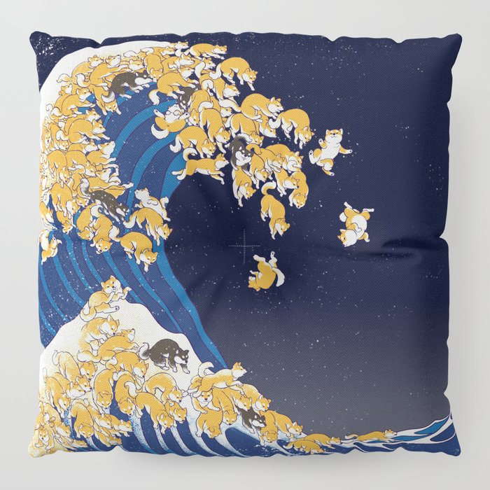 Shiba Inu The Great Wave in Night Floor Pillow