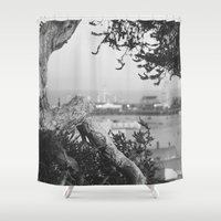 santa monica Shower Curtains featuring santa monica by gabriellevictoria