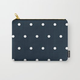 Navy Blue and White Polka Dots Pattern Carry-All Pouch