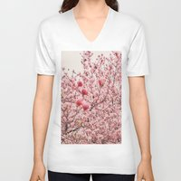 cherry blossoms V-neck T-shirts featuring Cherry Blossoms by Vivienne Gucwa