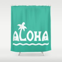 aloha Shower Curtains featuring Aloha! by Dylan Morang