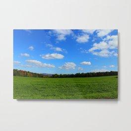 Rolling Farm Fields in W. Glover, VT Metal Print