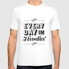 Everyday I'm Hustlin' MEDIUM White Mens Fitted Tee