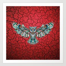Colorful Owl Pattern Art Print