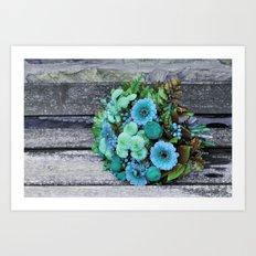 blue green bouquet on wood Art Print