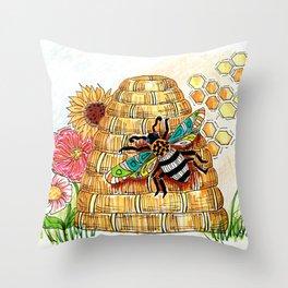 Buzzzzzzz Throw Pillow
