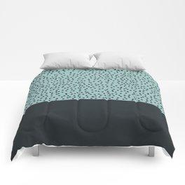 Dark navy dots on turquoise Comforters