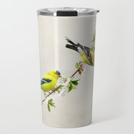 Goldfinches in a Cherry Tree Travel Mug