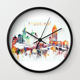 Montreal colorful skyline Wall Clock