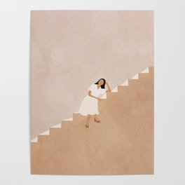 Girl Thinking on a Stairway Poster