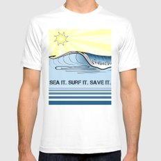 Sea It ~ Surf It ~ Save It White Mens Fitted Tee MEDIUM