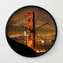 Golden Gate Bridge at Night Wall Clock