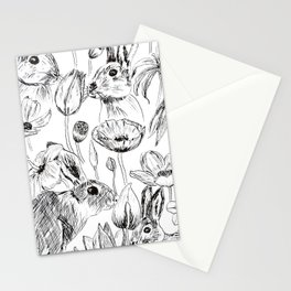 rabbits and flowers parties Stationery Cards