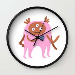 Neon pink Retro monster enjoying a cup of tea Wall Clock