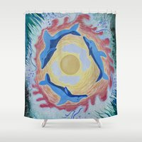 dolphins Shower Curtains featuring Dolphins by ChiWolfMother