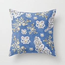 Costume jewelry, Ivory Pearls and White Lace on Blue Denim Texture Throw Pillow