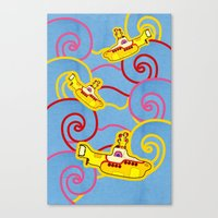 yellow submarine Canvas Prints featuring Yellow Submarine  by Merch Pug