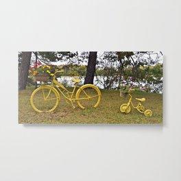 Yellow Bikes Metal Print