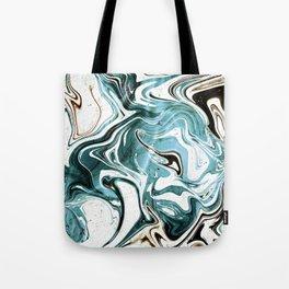 Liquid Teal Marble Tote Bag