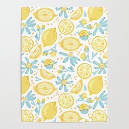 Lemon pattern White Poster