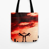 astrology Tote Bags featuring The Astrology  sign GEMINI by Krista May