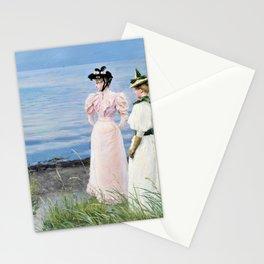 Miss Elisabeth Fischer And Miss Anna Pauline Bruun A Summer Day On The Beach In Hellerup Stationery Cards