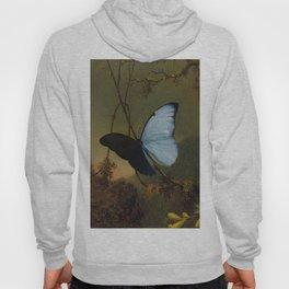 Blue Morpho Butterfly 1865 By Martin Johnson Heade | Reproduction Hoody