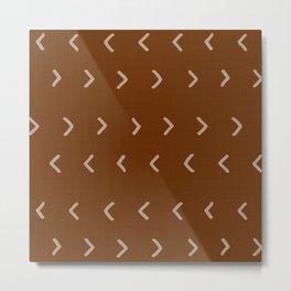 Mud Cloth Arrowheads // Brown Metal Print