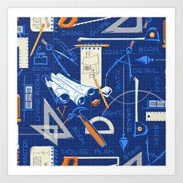 Architects + Builders Tools Pattern | Blue Art Print