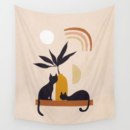 Love by the rainbow  - Cat duo with Nature Wall Tapestry