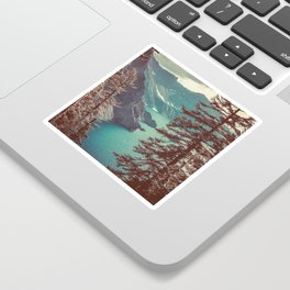 Vintage Blue Crater Lake and Trees - Nature Photography Sticker