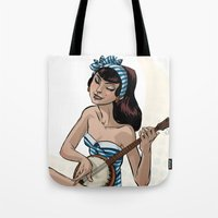 banjo Tote Bags featuring Summer Banjo by LaurenceBaldetti