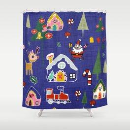 Santa Claus Blue #Christmas #Holiday Shower Curtain