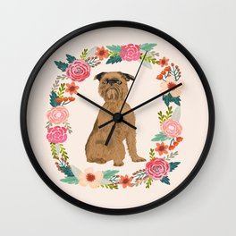 brussels griffon dog floral wreath dog gifts pet portraits Wall Clock