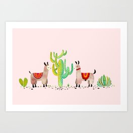 Cute alpacas with pink background Art Print